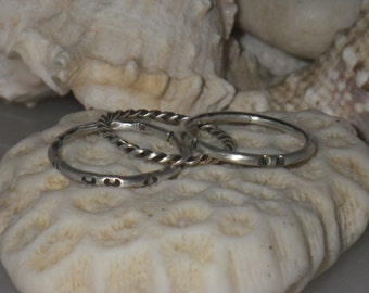 Sterling stack ring set. Three rings.