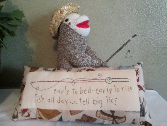 Sock Doll Fishing Toad with Inspirational Pillow - Handmade