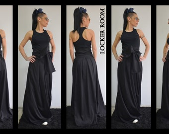 Black long skirt/ Autumn Low rise skirt/ Long maxi skirt