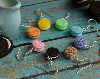 Mini Oreo Cookie Earrings Handmade Polymer Clay