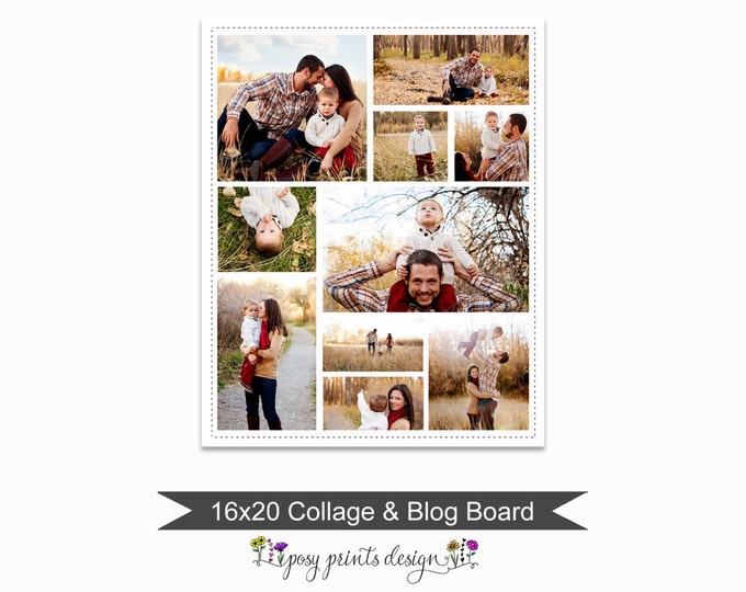 Blog Board & Collage Template 16x20 - Social Media Collage Template - Digital Storyboard - Instant Download - BCB17