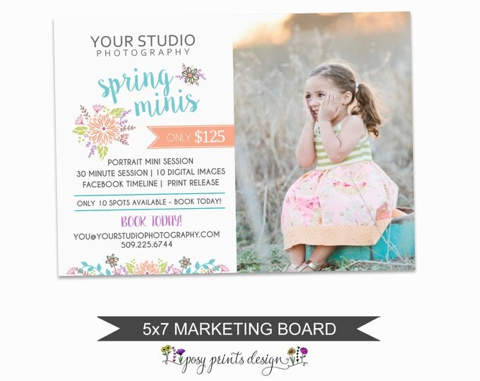 Spring Mini Session Marketing Board - Template for Photographers - Digital Photoshop Template - 5x7 Photography Design - SMS06