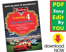 Instant Download Lightning McQueen Invitation Cars Invitation First Birthday Invitation for Boys Invitations Mcqueen Printables C01