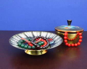 Vintage black enamel bowl copper / jewerly storage   West Germany   60s