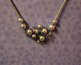 Silver and gray pearl wire charm necklace