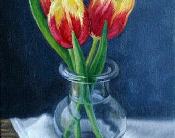 Tulips - original painting - oil painting - flower painting - painting of tulips - red and yellow - floral still life