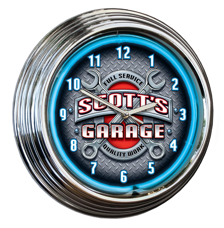 Personalized Garage Neon Clock