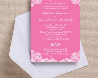 Fuscia Pink and White Vintage Lace Wedding Invitation & RSVP with envelopes