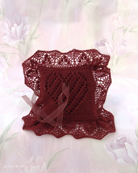 Elegant Lace Ring Bearer Pillow Hand Knitted Brownish Red