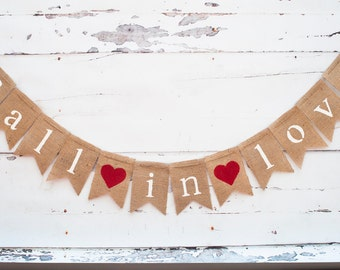 Fall in Love Burlap Banner, Fall in Love Banner, Fall Wedding Decor, Bridal Shower Banner, Wedding Photo Prop. B080