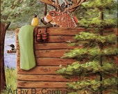 Rustic Cabin Decor | Cabin Bathroom Art Print | Deer Art | Rustic Bathroom Decor Art Print | Whimsical Animal Prints for Bathroom | Green