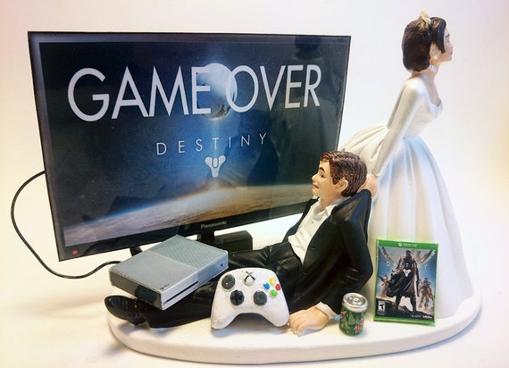 Bride Pulling Groom From Computer Cake Topper