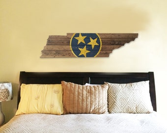 Nashville Predators - Tennessee Wooden State Flag Cut Out