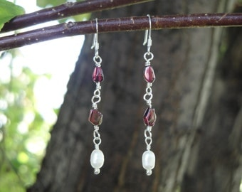 Sterling Silver Earrings with Fresh Water Pearls and Garnet