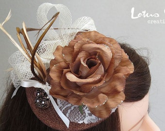Fascinator, Brown & Cream with Flower, Feathers and Lace.   Free Shipping in Australia.