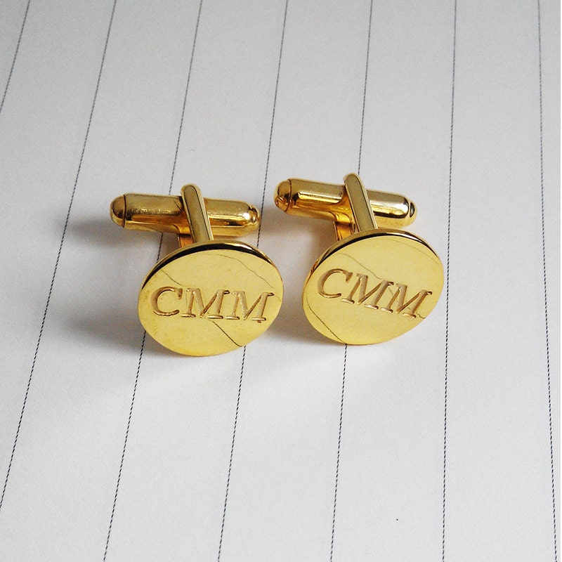 Gold Men Cufflinkswedding Cufflinksgroom Wedding Giftengraved