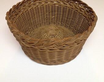 Primitive Handmade Round Woven Reed Basket