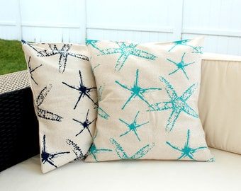 100% Recycled Pillow Cover 20 x 20 Starfish Design