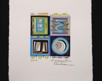 abstract painting, small original art, graphic artwork, modern design