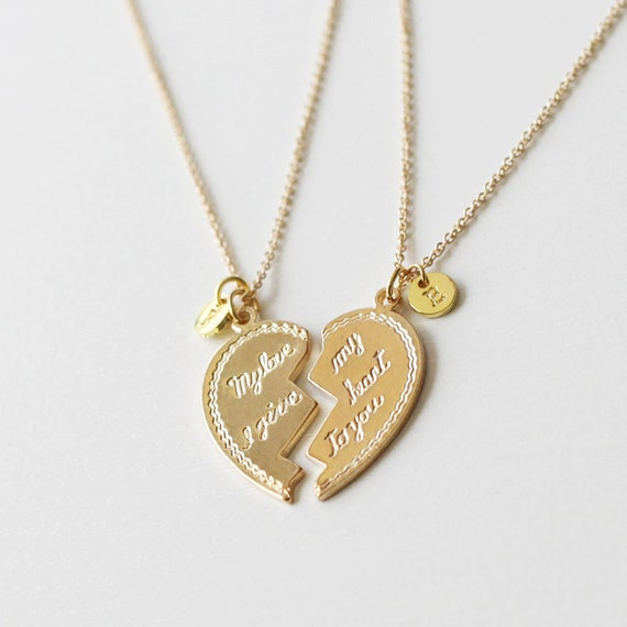 items similar to heart necklace his and her necklaces. Black Bedroom Furniture Sets. Home Design Ideas