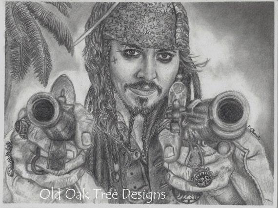 Items similar to johnny depp drawing print jack sparrow for Disegni di case dei caraibi