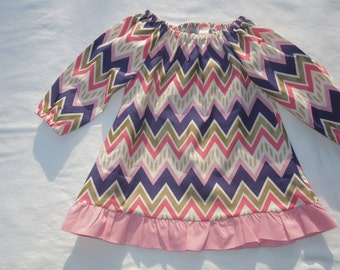 A-line Peasant Dress in pink, gold, and navy chevron with pink ruffle- ON SALE