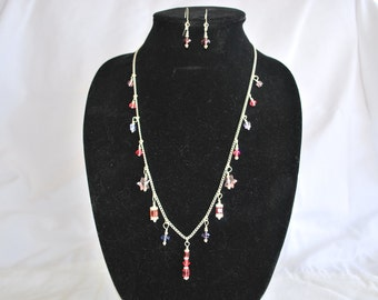 Swarovski Crystal Dangle Necklace and Earring Set