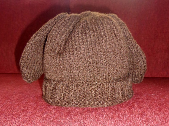 Knitting Pattern Hat With Dog Ears : Items similar to Puppy dog, ears, hat, knitted, child ...