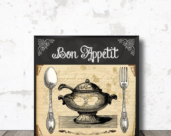 """Kitchen Wall Art """"Bon Appetit"""" Vintage Cutlery and Tableware - Fork and Spoon, Graphics Clipart - Instant Digital Download Printable Image"""