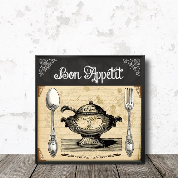 Kitchen Wall Art Bon Appetit Vintage Cutlery And