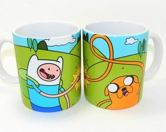 Adventure Time - Finn and Jake Fist Bump Ceramic Coffee Mugs
