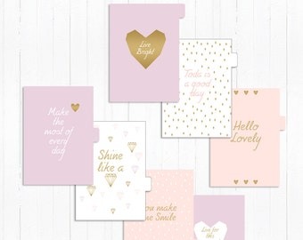 Printable Lilac and Gold Dividers with Tab A5 size
