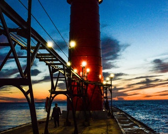 Grand Haven Michigan Sunset on Lighthouse