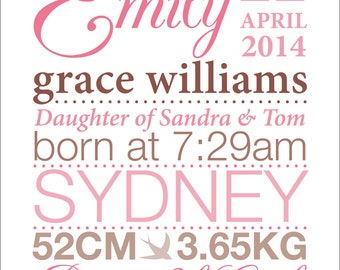 Baby Name Frame Personalised Birth Details DIGITAL FILE Ready to Print