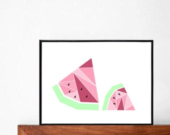 Geometric Shape Watermelon Art Print (geometric, line, pattern, colour, digital print, unframed, instant download)