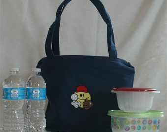 Blue Insulated Handmade Lunch Canvas Baseball Embroidered Eco-friendly Zippered Medium Sturdy Tote Bag