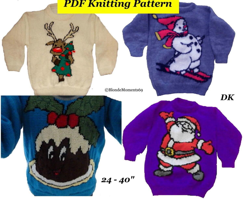 Xmas Jumper Knitting Patterns : Childrens adults christmas jumper knitting patterns