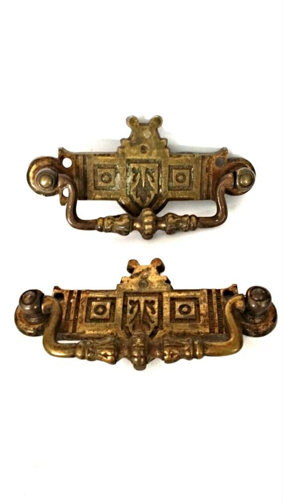 Vintage Furniture Pulls Brass Handles Salvaged Metal Dresser