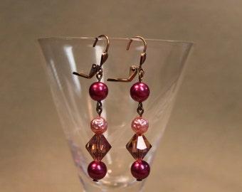 Sparkling Raspberry Drop Earrings