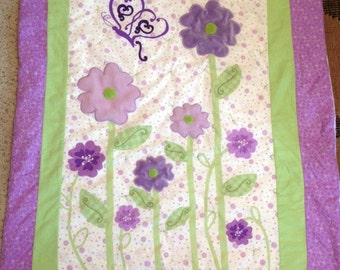 Purple and Green Flower Baby Quilt