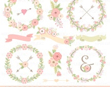 """Wedding flowers wreaths clipart: """"FLOWERS WREATHS"""" with floral wreaths clip art, wedding clipart, floral bouquets, ribbons, arrows"""