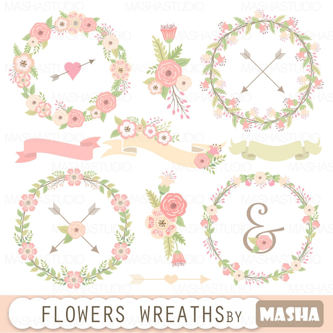 Wedding Flowers Wreaths Clipart FLOWERS WREATHS With Floral Wreaths Clip Art Wedding Clipart