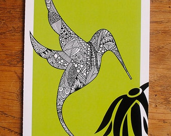 Perforated doodle hummingbird card - A6, blank inside, hand drawn, intricate illustration