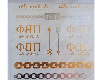 Pi Beta Phi Metallic Gold Tattoos, Gold Metallic Tattoos, Temporary Tattoos, Metallic Tattoos, GREEK Jewelry