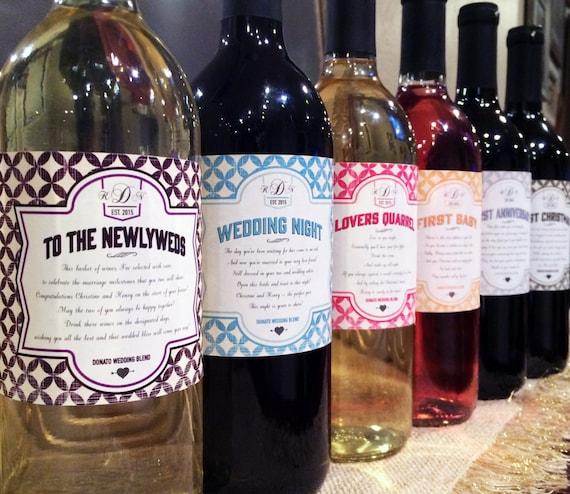 Wedding Milestone Wine Labels Unique Wedding Gifts: Wedding Milestones Wine Label