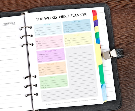 A5 Filofax Printable Planner Inserts Printable Weekly Meal