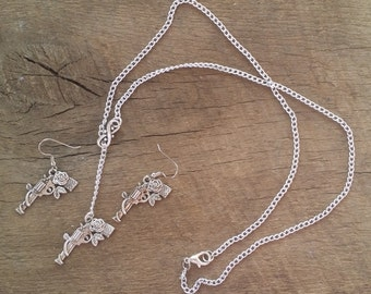 Guns and Roses Necklace and Earring Set with sliding Infinity Chain