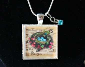 Bird Nest Charm Necklace with Blue Crystal Accent on a Silver Plated Chain- Gift Wrapped