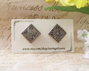 Silver Stud Earrings - Vintage Style Post Earrings
