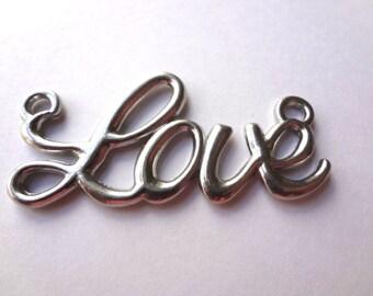 """Silver Tone """"Love"""" Pendants - 4 Count (014)"""